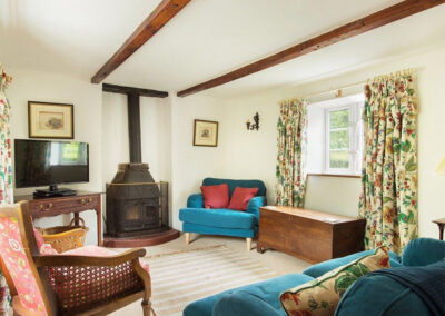 The living area at Bratton Mill Cottage, Bratton Fleming