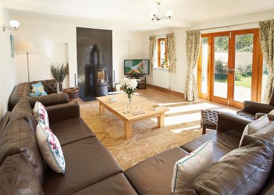 The living area at Long Meadow Barn, Down St Mary