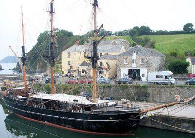 Tallships moored in nearby Charlestown harbour